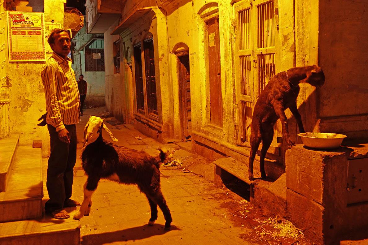 The narrow Streets of Varanasi at Night